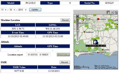 Komtrax-Machine-Location-Report