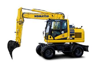 PW160-11 wheeled excavator komatsu marubeni construction rubber duck digger