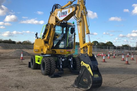 Lynch receive the first PW118MR-11 wheeled excavator in the UK.
